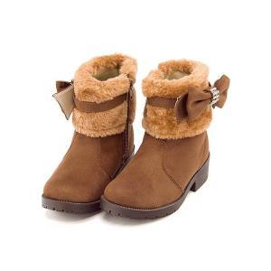 ショートブーツ 女の子 キッズ 子供靴 リボン付き ファー リップザスウェル Rip the Swell 860020 ダークブラウン|shoesdirect