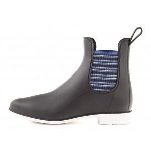 レインブーツ 長靴 ショートブーツ レディース サイドゴア 防水 防滑 ミレディ MILADY ML752 ブラック/ブルー|shoesdirect