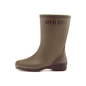 レインブーツ ハーフブーツ 長靴 レディース コサック ローヒール 防水 防滑 3E 第一ゴム G333 カーキ|shoesdirect