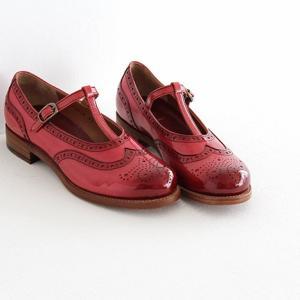 plus by chausser プリュス バイ ショセ Tストラップシューズ PC-5042 red  レディース 靴|shoesgallery-hana