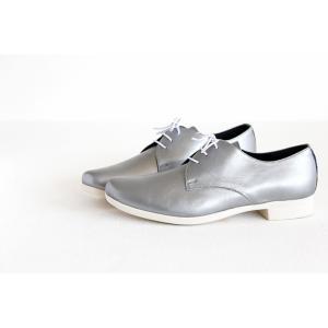 TRAVEL SHOES by chausser トラベルシューズバイショセ プレーントゥレースアップシューズ TR-008 シルバー/ホワイト レディース 靴 shoesgallery-hana 04