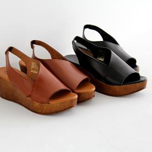 eness エネス ウェッジソール レザーサンダル No.55611 レディース 靴|shoesgallery-hana