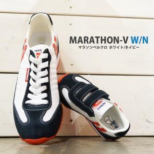 パトリック キッズスニーカー マラソンベルクロ ホワイト・ネイビー PATRICK MARATHON-V WHT/NVY EN7702