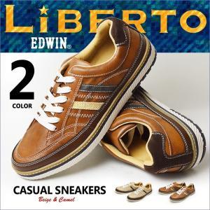 靴 メンズ スニーカー メンズ シューズ カジュアルシューズ LiBERTO EDWIN リベルト エドウィン レースアップ 軽量 メンズシューズ|shoesquare