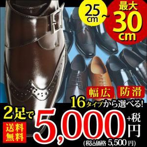 ビジネスシューズ 2足セット 16種類 選べる福袋 セール 靴 革靴 メンズ スリッポン モンクストラップ ロングノーズ ローファー フォーマル 幅広 3EEE 紳士靴