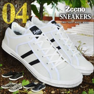 靴 メンズシューズ メンズスニーカー 大人 軽量 PU スウェット カジュアルシューズ 人気 Zeeno ジーノ クッションインソール スニーカー|shoesquare