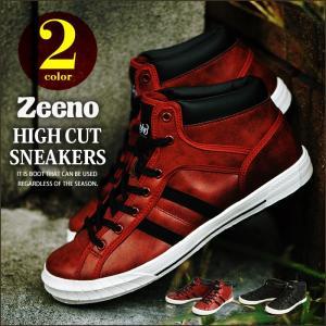 ハイカットスニーカー メンズ スニーカー メンズスニーカー カジュアルシューズ ハイカット レースアップ シューズ 軽量 靴 人気 Zeeno ジーノ|shoesquare