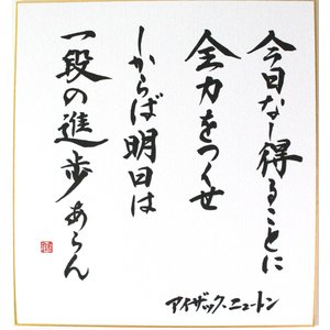 偉人の名言「今日なし得ることに全力をつくせ しからば明日は一段の進歩あらん」手書き色紙|shogendo