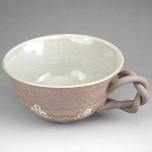 京焼 清水焼     焼締三島 スープカップ(内ねずみ)|shoindo