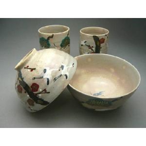 贈り物にピッタリです。長寿のシンボル、鶴を描いた清水焼の湯飲みとご飯茶碗セットです。   ◆当店の京...