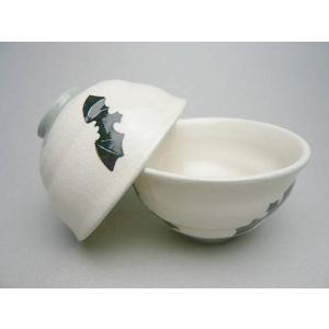 京焼 清水焼     コウモリ 夫婦茶碗 (陶仙作) shoindo