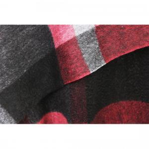 SHOKAY(ショーケイ)セリーン・プレイド・ショール(グレイ/クランベリーレッド/ブラック)|shokay|06