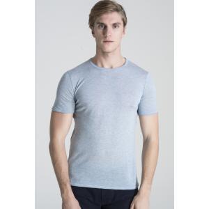 SHOKAY(ショーケイ)メンズ・ニットTシャツ(コットンヤク素材、ペールブルー)|shokay