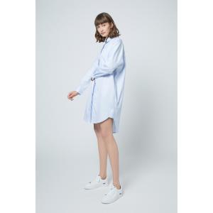 SHOKAY(ショーケイ)ウィメンズ・コットンシャツドレス(スカイブルー)|shokay