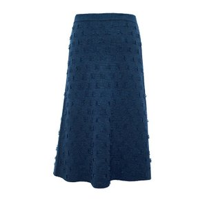 ヤク混ニットスカート「チベタン・ハーベスト・スカート」(ネイビー)|shokay