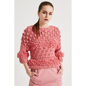 SHOKAY(ショーケイ)手編みタッセル・セーター(ピンク、ウール×ヤク×カシミヤ) shokay