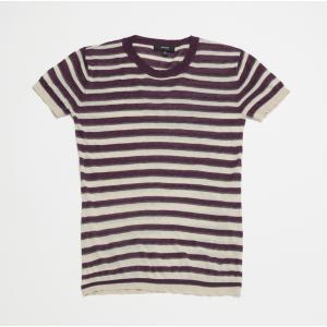 SHOKAY(ショーケイ)ティシューストライプTシャツ(パープル/ライトグレー/グレイ)|shokay