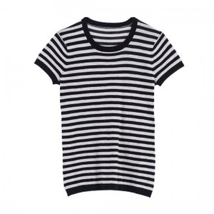 SHOKAY(ショーケイ)ストライプ・ティシューTシャツ(ヤクコットン・ブラック/ライトグレイ)|shokay