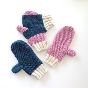 フォーエバー・ハンド・イン・ハンド・ミトンズ (手をつなぐ手袋:カップル用 ティールブルー/スモーキーピンク/オフホワイト)|shokay