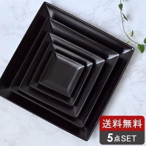 食器セット スタイリッシュな角皿セット 5点ブラックLAPIS 送料込み 洋食器セット 白い食器 パ...