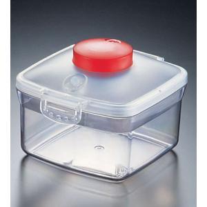 プッシュ式バキュームコンテナー 正方形 NVMQ07小レッド 7-0233-1102 真空保存容器 (TKG17-0233)|shokki-pro