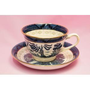 #273B 山水 コーヒー碗皿(青)|shokki