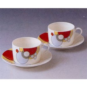 ティー・コーヒー碗皿ペアセット◆フランク・ロイド・ライト デザイン テーブルウェア(ノリタケP97282/4614)|shokki