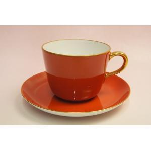 大倉陶園 モーニング碗皿(レッド蒔き)|shokki