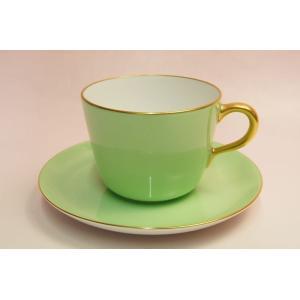 大倉陶園 モーニング碗皿(ライトグリーン蒔き)|shokki