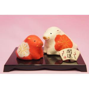干支 ちぎり和紙 紅白親子 福丸亥(イノシシ)|shokki