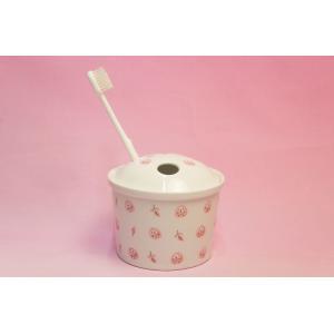 ピンクふくろう 抗菌入れ歯ポット(歯ブラシ立て)|shokki|06