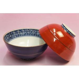 青赤塗胴筋 組飯碗|shokki