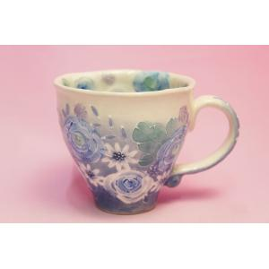ゆずりは 藍彩花化粧 マグカップ shokki