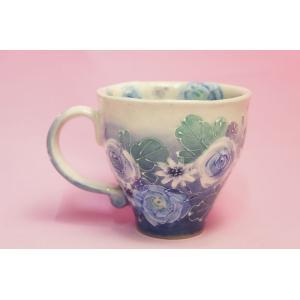 ゆずりは 藍彩花化粧 マグカップ shokki 02