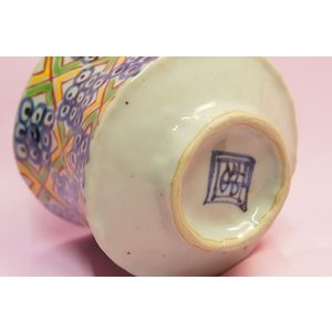黄緑市松 手捻りリム付き湯呑み shokki 05