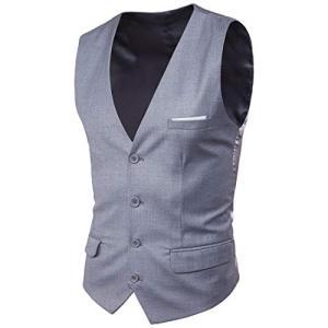 Blissmall ジレ ベスト メンズ フォーマル 結婚式 紳士 スリム スーツ仕立て スーツベスト 上質 尾錠付き BB20 (2XL, グレー) shokolaballet