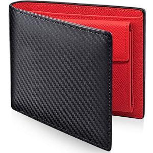 PEYNE 二つ折り財布 本革 メンズ 財布 - カーボン 薄型 ふたつおり財布,紳士 さいふ ふたつ折り財布, (表革: カーボン柄 ブラック, 内|shokolaballet