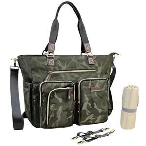 マザーズ バッグ 防水マットとベビーカーストラップを変えると一緒のおかあさんのためおむつトートバッグおしめバッグ、赤ちゃんのおむつの緑の迷彩のための最|shokolaballet