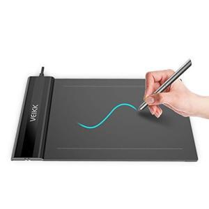 VEIKK ペンタブレット 6*4インチ 2mm厚さ超薄型ペンタブ OSUなどゲームにも最適 イラスト入門用 8192レベル筆圧感度+充電不要ペン 黒 shokolaballet