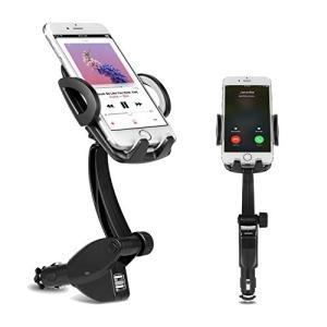 DELAM 車載ホルダー オートホールド式 シガーソケット付き携帯スタンド USBポートx2 スマホホルダー 360度回転可能 出力5V3A GPSス shokolaballet
