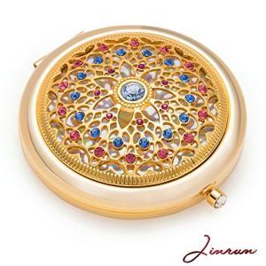 女性用のユニークなギフト/ジンヴァン 24kゴールド電気メッキメイクアップミラー : 究極の贅沢な丸型化粧鏡 ダイアモンド付き/丈夫な持ち運びハンドバ|shokolaballet