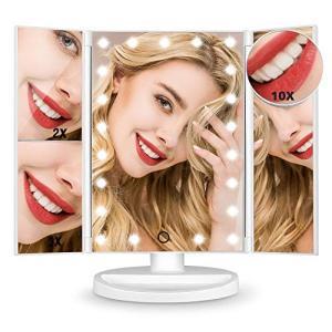 化粧鏡 女優ミラー Hamswan 鏡 卓上 折りたたみ 化粧ミラー 拡大鏡 2倍&3倍&10倍 三面鏡 LED付き 明るさ調節可能 180°回転 電|shokolaballet