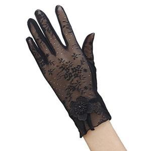 (ピーキー)Peigee 清涼 レース 紫外線をしっかりガード!! 手袋 清涼メッシュ 日焼け止め UVカット ショート グローブ 薄手 メッシュ 花|shokolaballet