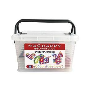 MAGHAPPY 最新 クリエイティブセット90ピース 13種類 日本製収納ケースセット マグネットブロック 磁気おもちゃ 知育玩具 マグフォーマー|shokolaballet