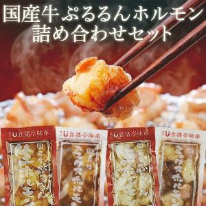 大人気ホルモンの特製たれ漬け4種セット 送料無料『国産牛ぷるるんホルモン詰め合わせ』北海道・関西・九州産 ギフトにも (焼肉 焼き肉 バーベキュ-)|shokufukutei