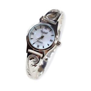 ハワイアンジュエリー バングル ウオッチ 腕時計 スターリングシルバー 銀 スクロール プルメリア ...