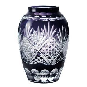 江戸切子 壷型花瓶 ムラサキ 江戸切子|shop-adex