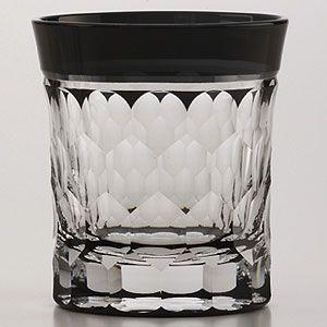 江戸切子 ロックグラス 亀甲 黒 ミニオールド 江戸切子 江戸切り子|shop-adex