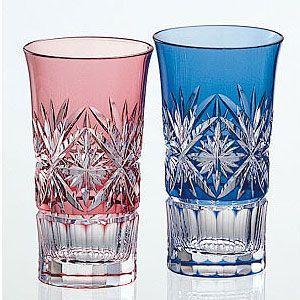 カガミクリスタル 色被せクリスタルガラス ペアひとくちビールグラス カガミクリスタル|shop-adex