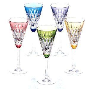 カガミクリスタル 色被せクリスタルグラス ワイングラスセット(5客) カガミクリスタル shop-adex